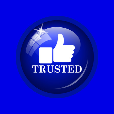 trusted: Trusted icon. Internet button on blue background.