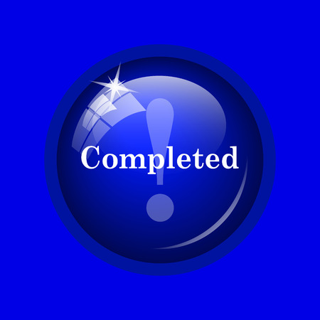 canceled: Completed icon. Internet button on blue background. Stock Photo