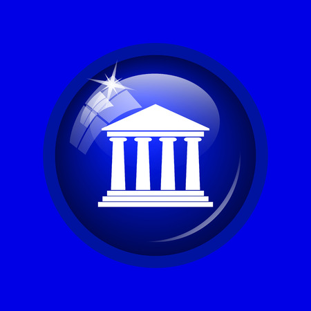 derecho romano: Building icon. Internet button on blue background.