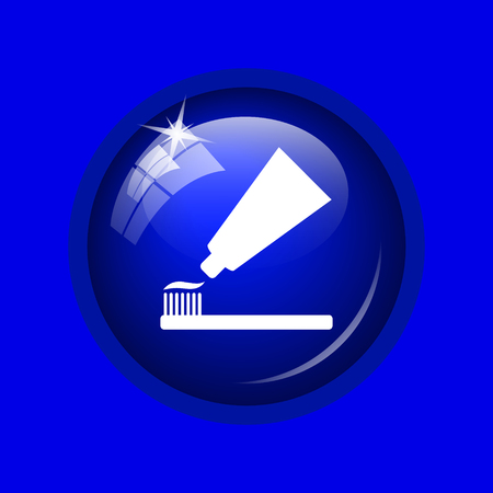 tooth paste: Tooth paste and brush icon. Internet button on blue background. Stock Photo