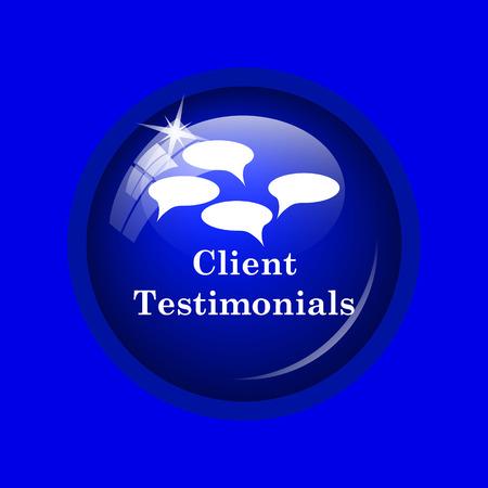 authenticate: Client testimonials icon. Internet button on blue background.