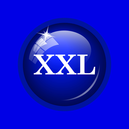 extra large size: XXL  icon. Internet button on blue background.