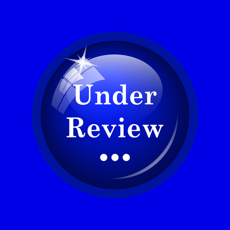 canceled: Under review icon. Internet button on blue background. Stock Photo