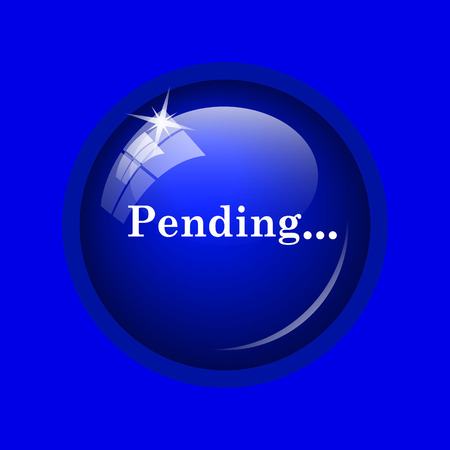 canceled: Pending icon. Internet button on blue background. Stock Photo