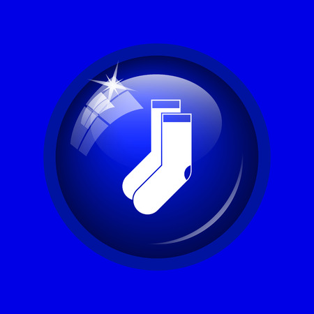 hosiery: Socks icon. Internet button on blue background.