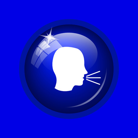 noisily: Talking icon. Internet button on blue background. Stock Photo
