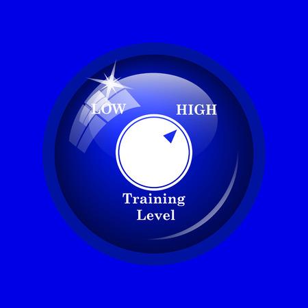 cognicion: icono del nivel de entrenamiento. bot�n de internet sobre fondo azul. Foto de archivo
