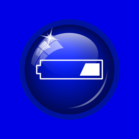 1 third charged battery icon. Internet button on blue background.