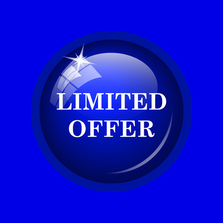 peel off: Limited offer icon. Internet button on blue background. Stock Photo