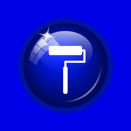 blue paintroller: Roller icon. Internet button on blue background.