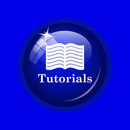 tutorials: Tutorials icon. Internet button on blue background. Stock Photo