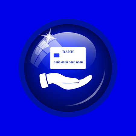 holding credit card: Hand holding credit card icon. Internet button on blue background.