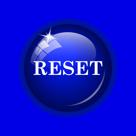 revision: Reset icon. Internet button on blue background. Stock Photo
