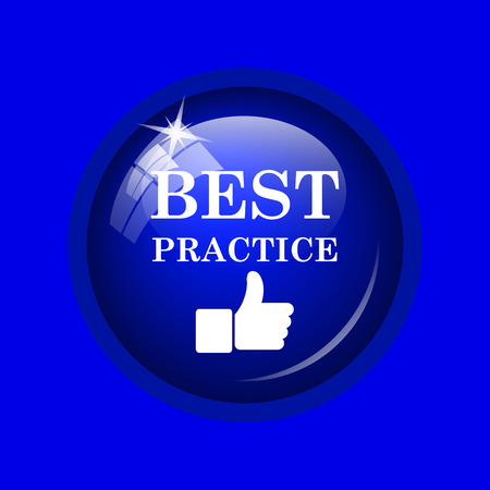 best practices: Best practice icon. Internet button on blue background. Stock Photo