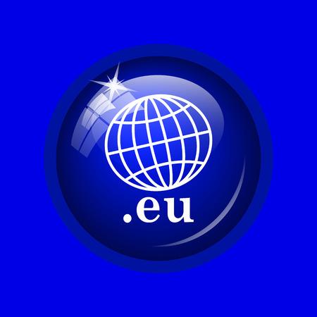 eu: .eu icon. Internet button on blue background.