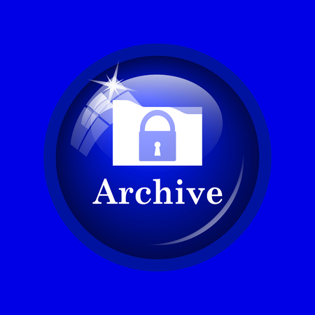 recover: Archive icon. Internet button on blue background.