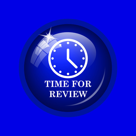 revision: Time for review icon. Internet button on blue background.