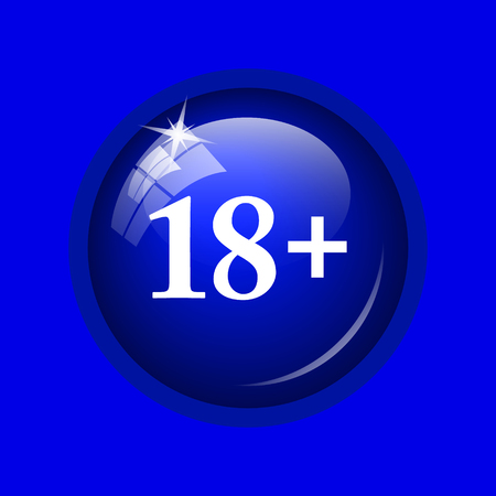 information age: 18 plus icon. Internet button on blue background.