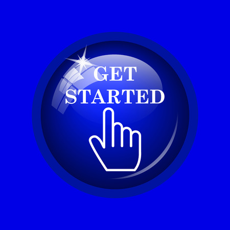 getting started: Get started icon. Internet button on blue background.