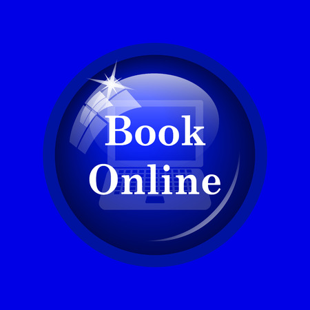 purchase book: Book online icon. Internet button on blue background.
