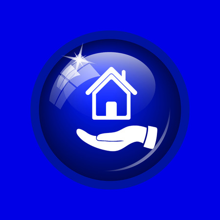 hand holding house: Hand holding house icon. Internet button on blue background.