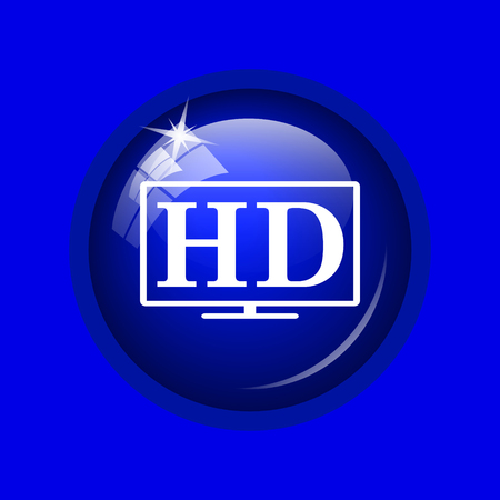 hd tv: HD TV icon. Internet button on blue background.