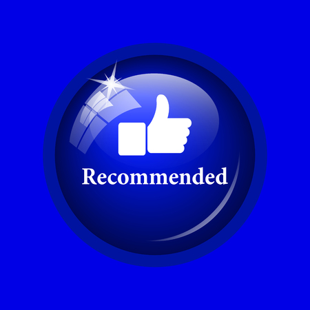 recommended: Recommended icon. Internet button on blue background. Stock Photo