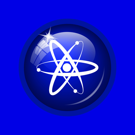 gamma radiation: Atoms icon. Internet button on blue background. Stock Photo