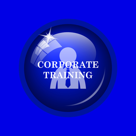 corporate training: Corporate training icon. Internet button on blue background. Stock Photo