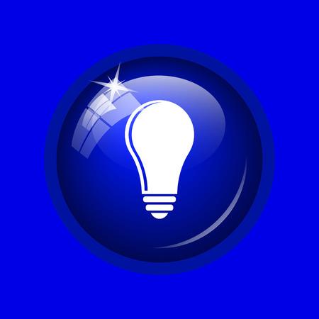 filament: Light bulb - idea icon. Internet button on blue background.