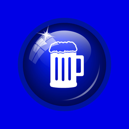 Beer icon. Internet button on blue background.