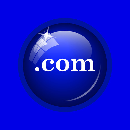 com: .com icon. Internet button on blue background.