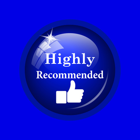 recommendations: Highly recommended icon. Internet button on blue background.