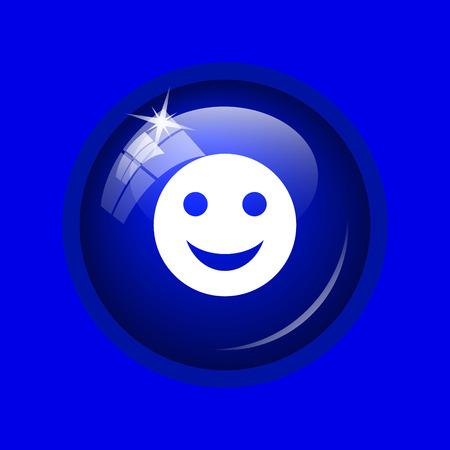 smily: Smiley icon. Internet button on blue background. Stock Photo