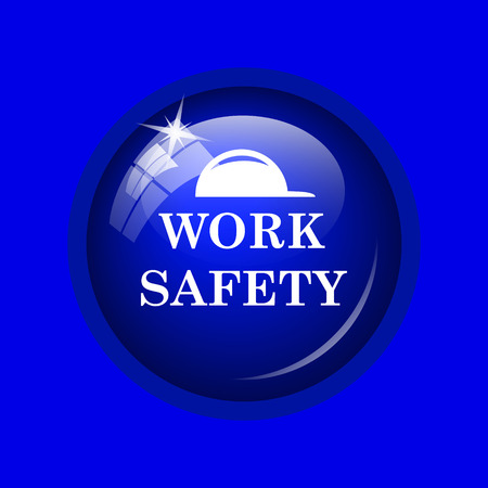 dangerous construction: Work safety icon. Internet button on blue background.