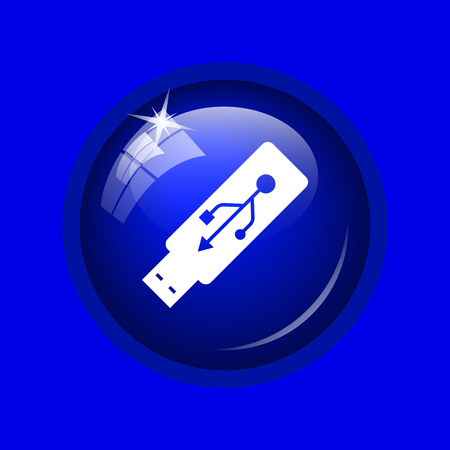 pendrive: Usb flash drive icon. Internet button on blue background.