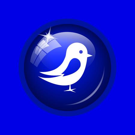 chirp: Bird icon. Internet button on blue background.