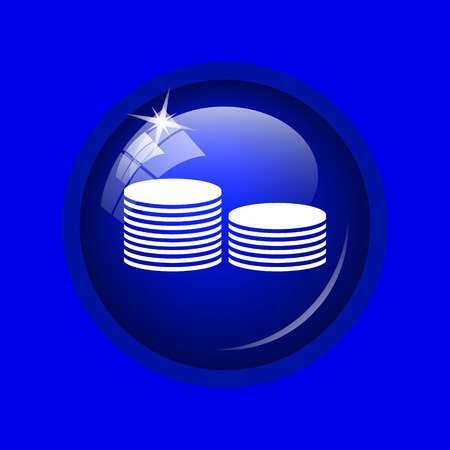 bribe: Coins.Money icon. Internet button on blue background. Stock Photo