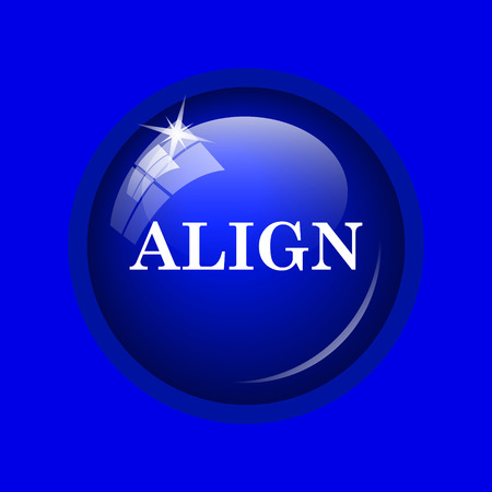align: Align icon. Internet button on blue background.