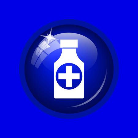 pills bottle: Pills bottle  icon. Internet button on blue background.
