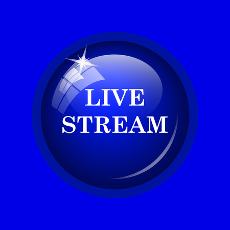 news cast: Live stream icon. Internet button on blue background.
