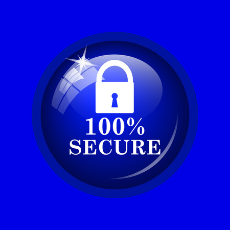 100 percent secure icon. Internet button on blue background.