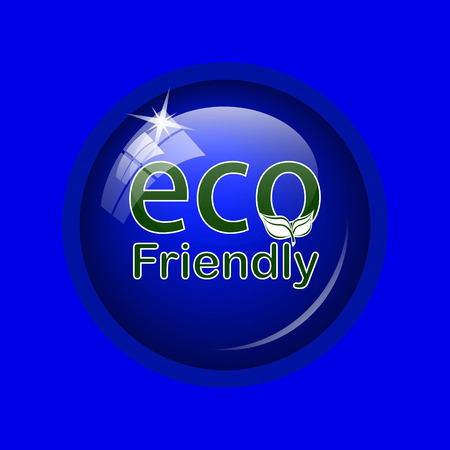 eco friendly icon: Eco Friendly icon. Internet button on blue background.