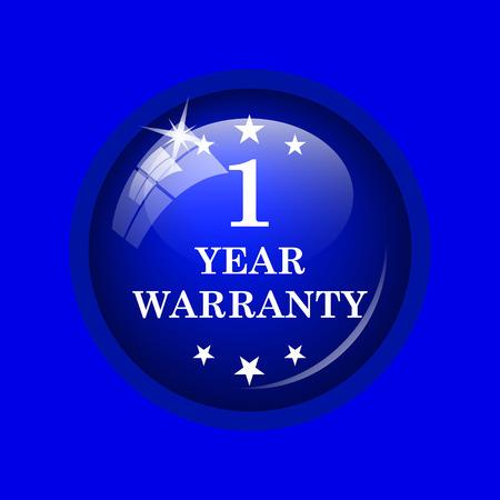 1 year warranty: 1 year warranty icon. Internet button on blue background. Stock Photo