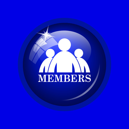 fellowship: Members icon. Internet button on blue background.