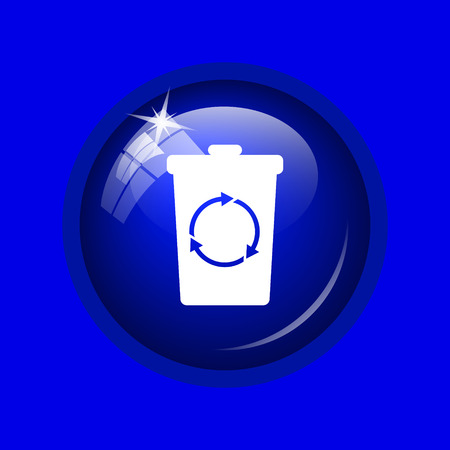dumpster: Recycle bin icon. Internet button on blue background.