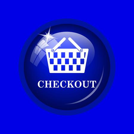 checkout: Checkout icon. Internet button on blue background. Stock Photo