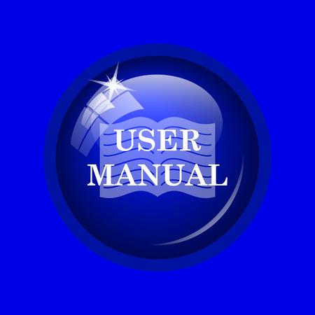 handbook: User manual icon. Internet button on blue background. Stock Photo