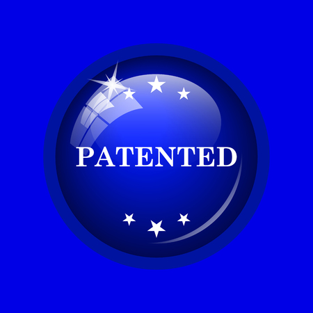 plagiarism: Patented icon. Internet button on blue background.