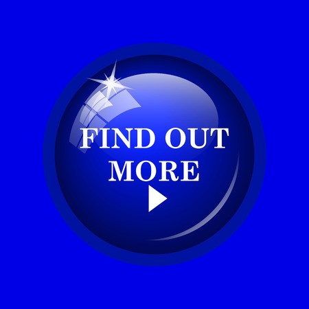 find out: Find out more icon. Internet button on blue background. Stock Photo